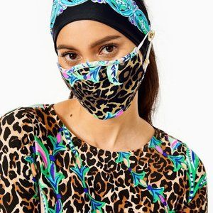 Lilly Pulitzer Button Up Head Band and Mask